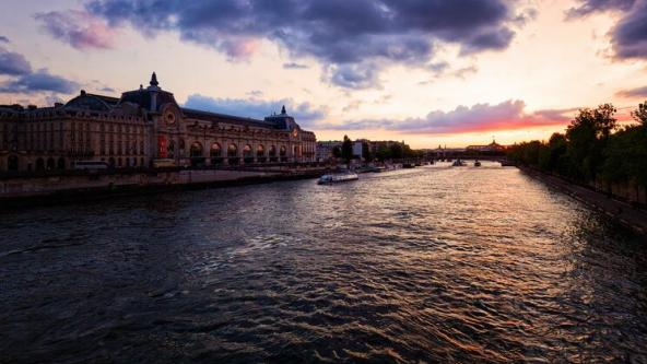 The Seine river at sunset