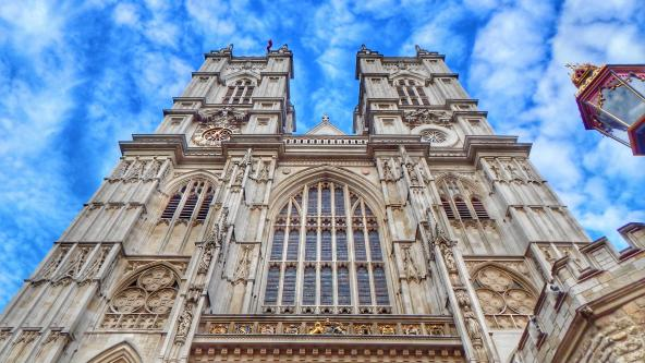 Looking up at Westminster Abbey