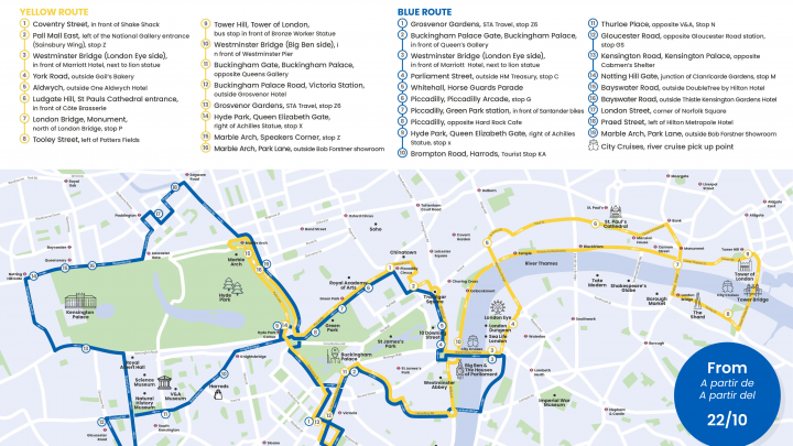 Tootbus London map - route update