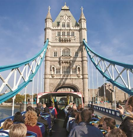 View of Tower Bridge from the bus