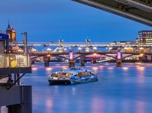 Thames river with illuminated bridges